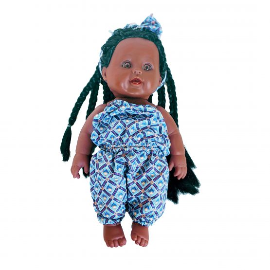 Iyawa doll with blue jumpsuit squares and unique patterns
