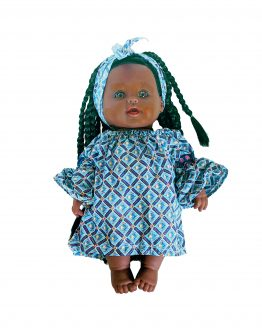 Tokunbo doll with blue dress squares and unique patterns